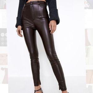 Zara Faux Leather Pants M